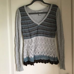 American Rag Sweaters - Boho Long Sleeve Crochet Top